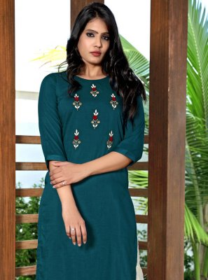 Embroidered Fancy Fabric Rama Party Wear Kurti