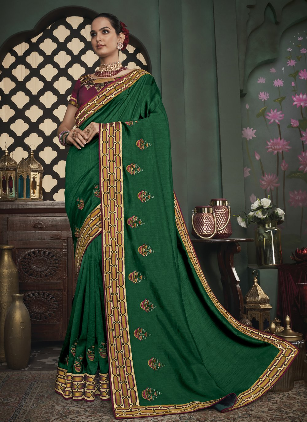 Embroidered Fancy Fabric Trendy Saree in Green