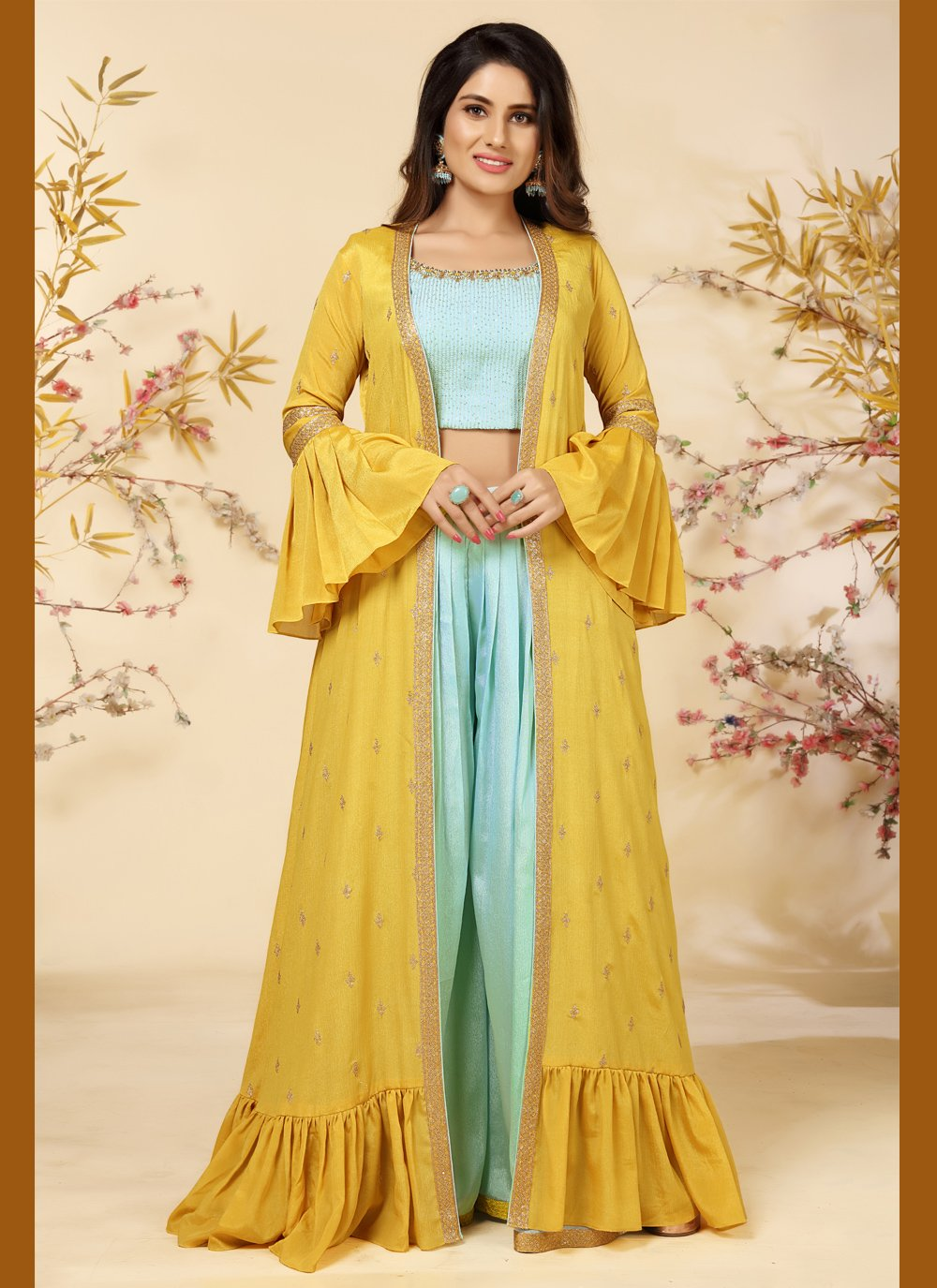 Embroidered Faux Chiffon Blue and Yellow Readymade Suit