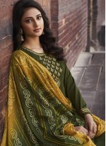 Embroidered Faux Chiffon Green Designer Palazzo Salwar Suit