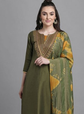 Embroidered Faux Chiffon Pant Style Suit in Green