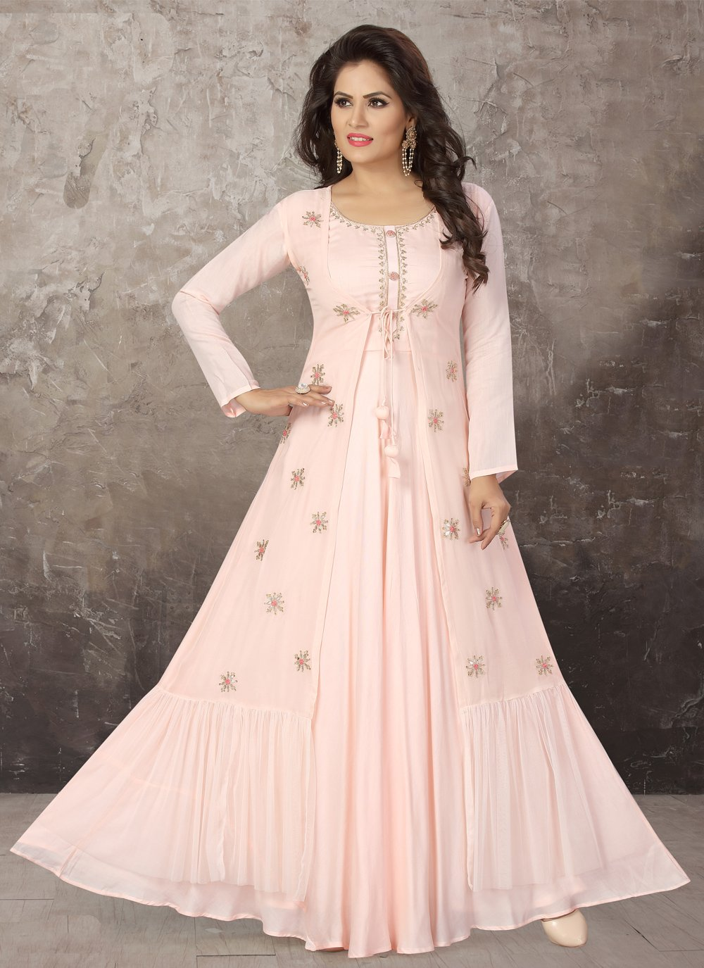 Embroidered Faux Chiffon Party Wear Kurti in Pink