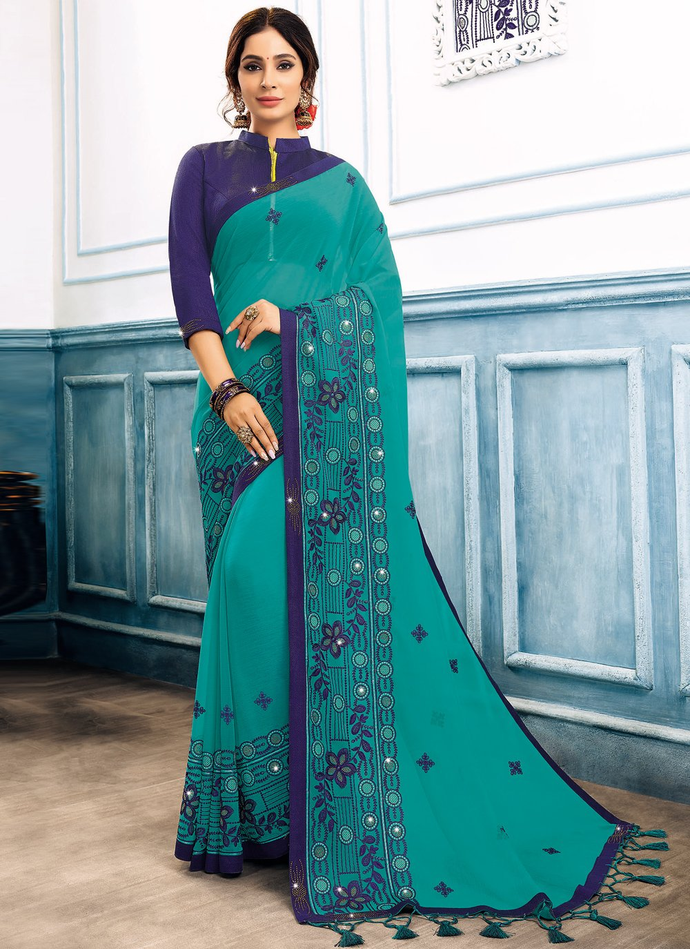 Embroidered Faux Chiffon Trendy Saree in Turquoise