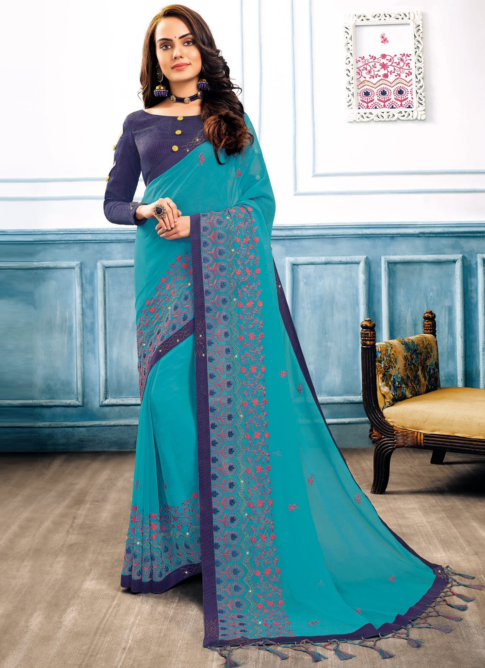 Embroidered Faux Chiffon Turquoise Classic Designer Saree