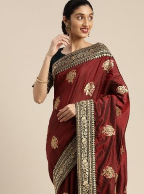 Embroidered Faux Crepe Maroon Designer Saree