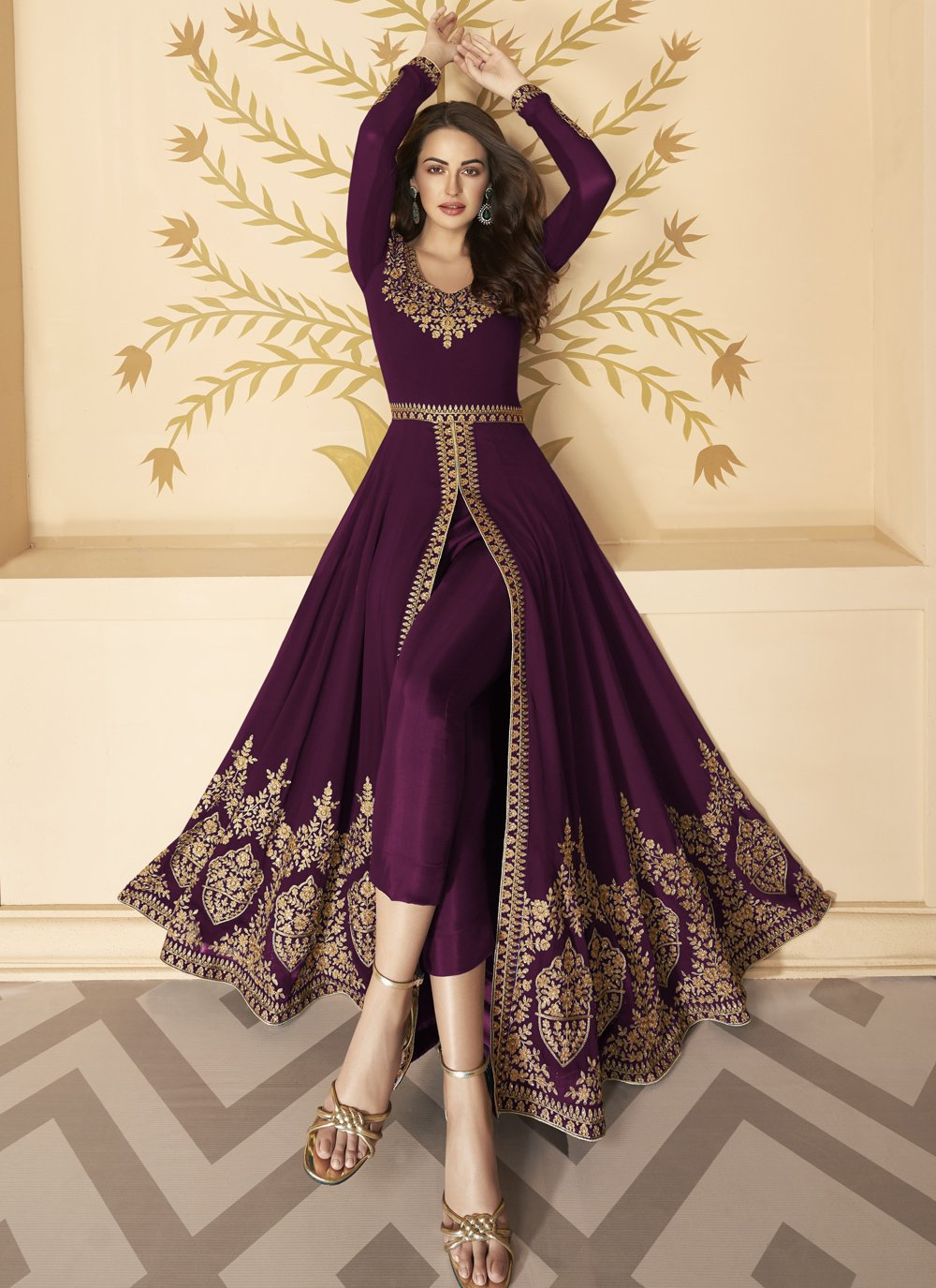 Embroidered Faux Georgette Anarkali Suit in Purple