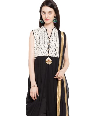 Embroidered Faux Georgette Black Readymade Salwar Kameez