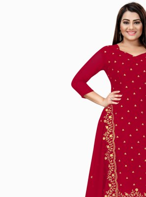 Embroidered Faux Georgette Churidar Designer Suit in Maroon