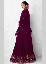 Embroidered Faux Georgette Designer Kameez Style Lehenga Choli in Purple
