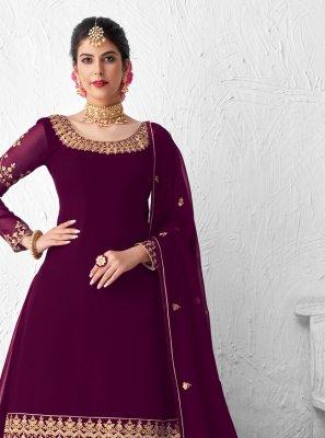 Embroidered Faux Georgette Designer Kameez Style Lehenga Choli in Purple