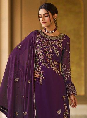 Embroidered Faux Georgette Designer Pakistani Salwar Suit in Purple