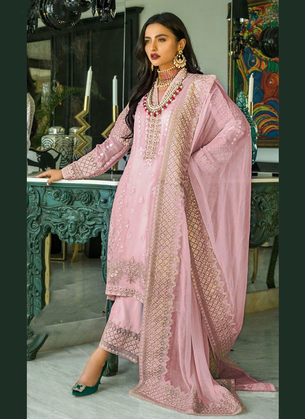 Embroidered Faux Georgette Designer Pakistani Suit