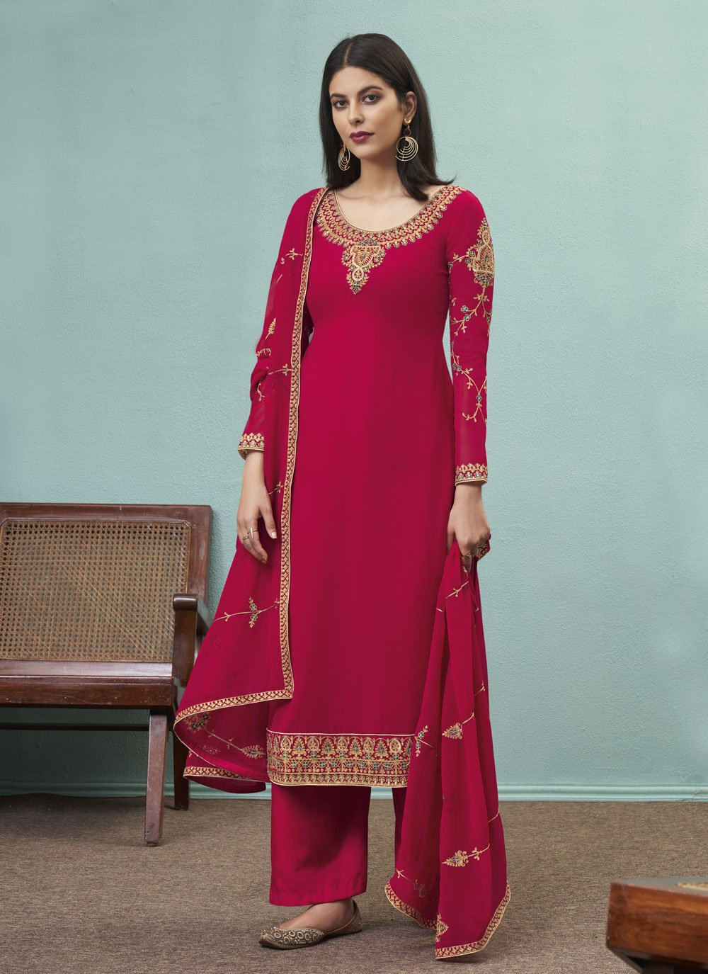 Embroidered Faux Georgette Designer Pakistani Suit in Rani