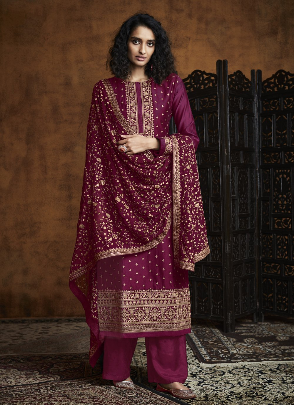 Embroidered Faux Georgette Designer Palazzo Salwar Suit