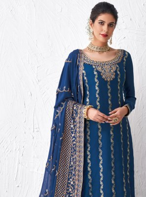 Embroidered Faux Georgette Designer Palazzo Suit in Blue