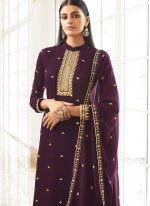 Embroidered Faux Georgette Designer Palazzo Suit in Purple