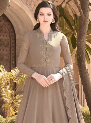 Embroidered Faux Georgette Floor Length Anarkali Salwar Suit