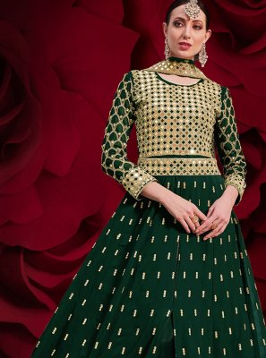 Embroidered Faux Georgette Floor Length Anarkali Suit in Green