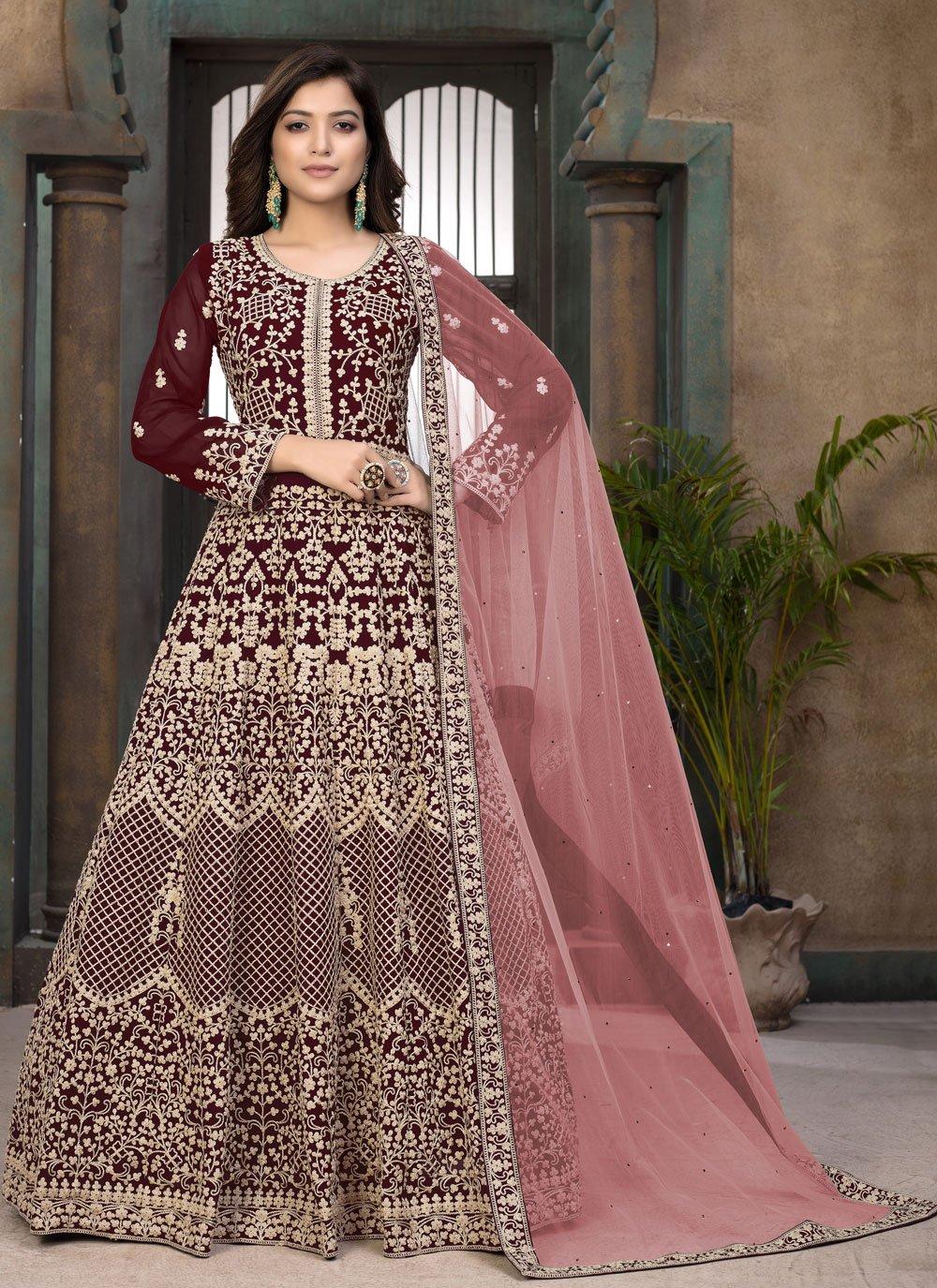Embroidered Faux Georgette Floor Length Anarkali Suit in Maroon