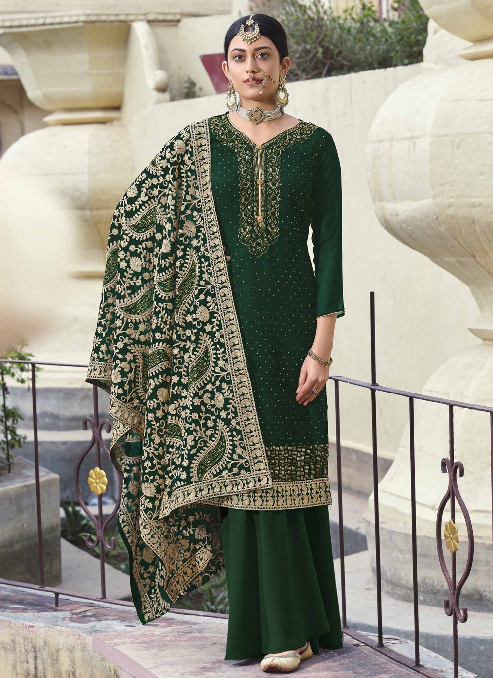 Embroidered Faux Georgette Green Designer Palazzo Salwar Suit