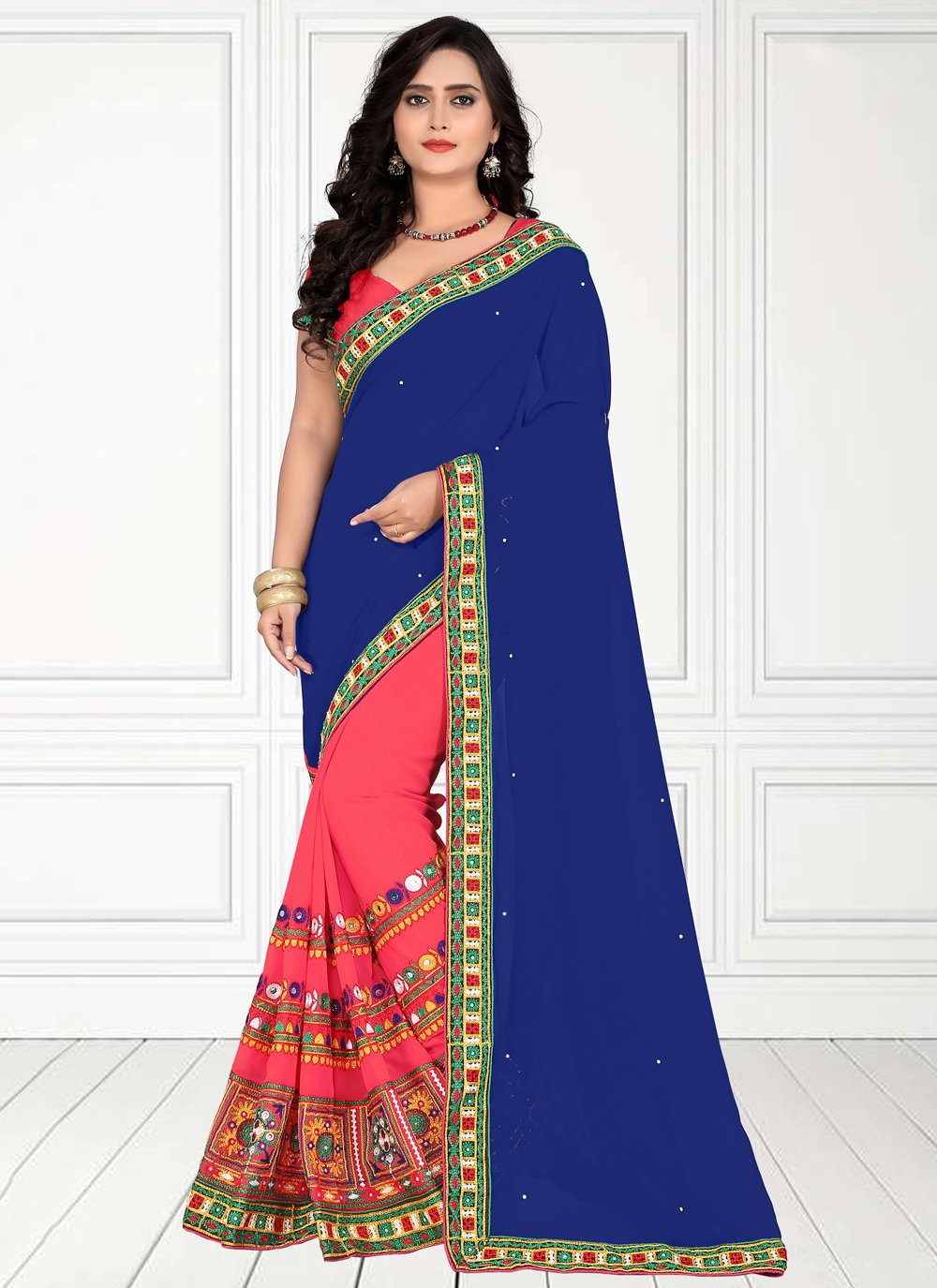 Embroidered Faux Georgette Half N Half  Saree