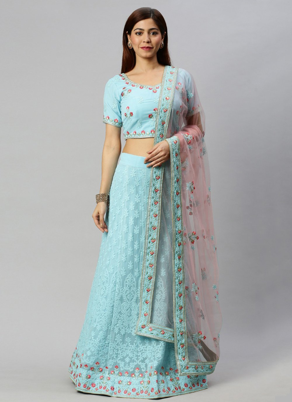 Embroidered Faux Georgette Lehenga Choli