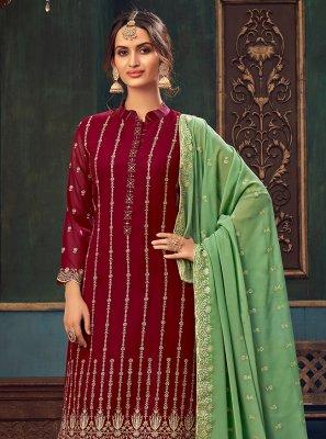 Embroidered Faux Georgette Maroon Designer Pakistani Suit