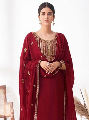 Embroidered Faux Georgette Maroon Designer Palazzo Suit