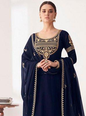 Embroidered Faux Georgette Navy Blue Designer Palazzo Salwar Kameez