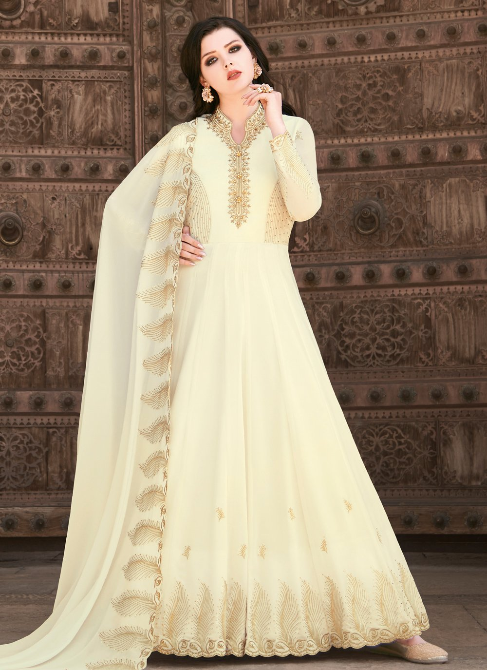 Embroidered Faux Georgette Off White Floor Length Anarkali Suit