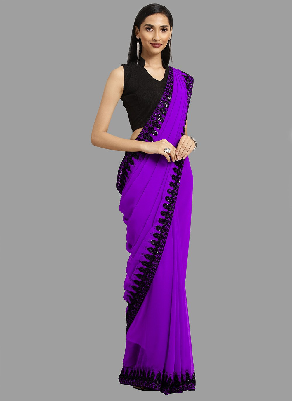 Embroidered Faux Georgette Purple Casual Saree