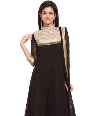 Embroidered Faux Georgette Readymade Anarkali Salwar Suit