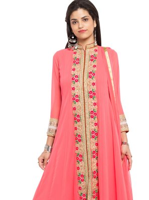 Embroidered Faux Georgette Readymade Anarkali Salwar Suit in Pink
