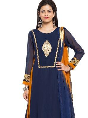Embroidered Faux Georgette Readymade Churidar Salwar Kameez in Blue