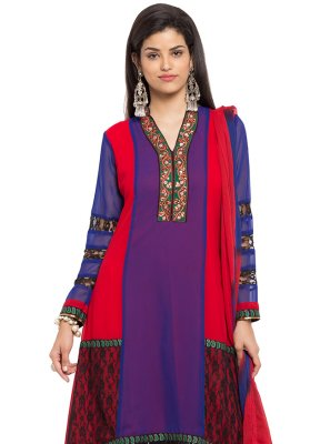 Embroidered Faux Georgette Readymade Salwar Kameez in Purple