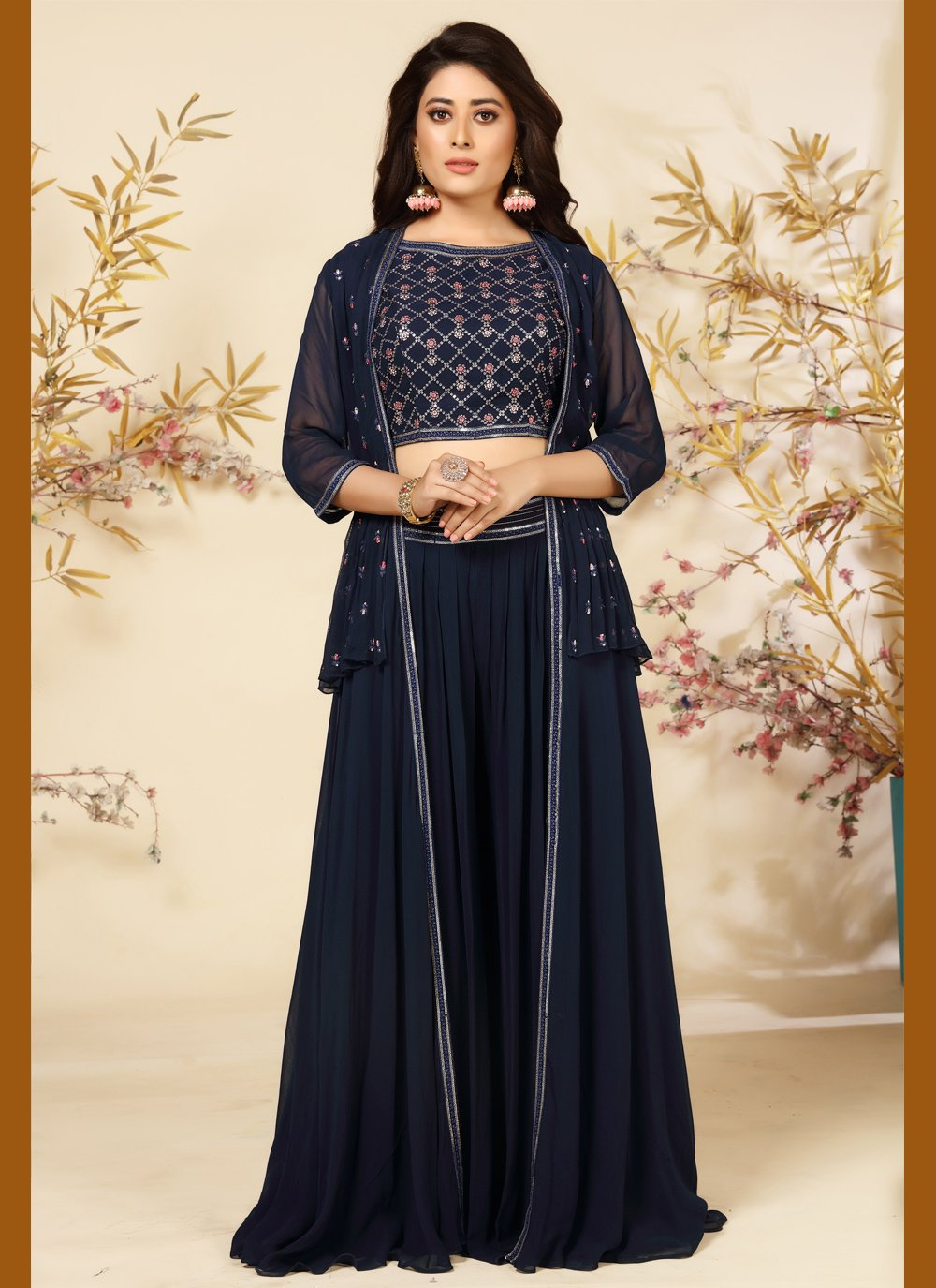 Embroidered Faux Georgette Readymade Suit in Navy Blue
