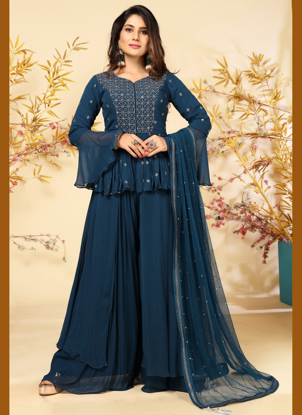Embroidered Faux Georgette Readymade Suit in Teal