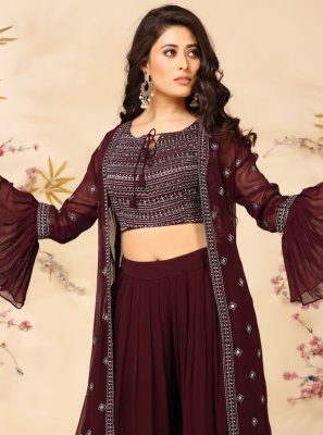 Embroidered Faux Georgette Readymade Suit in Wine