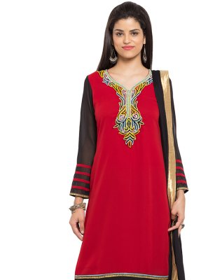 Embroidered Faux Georgette Red Readymade Salwar Kameez