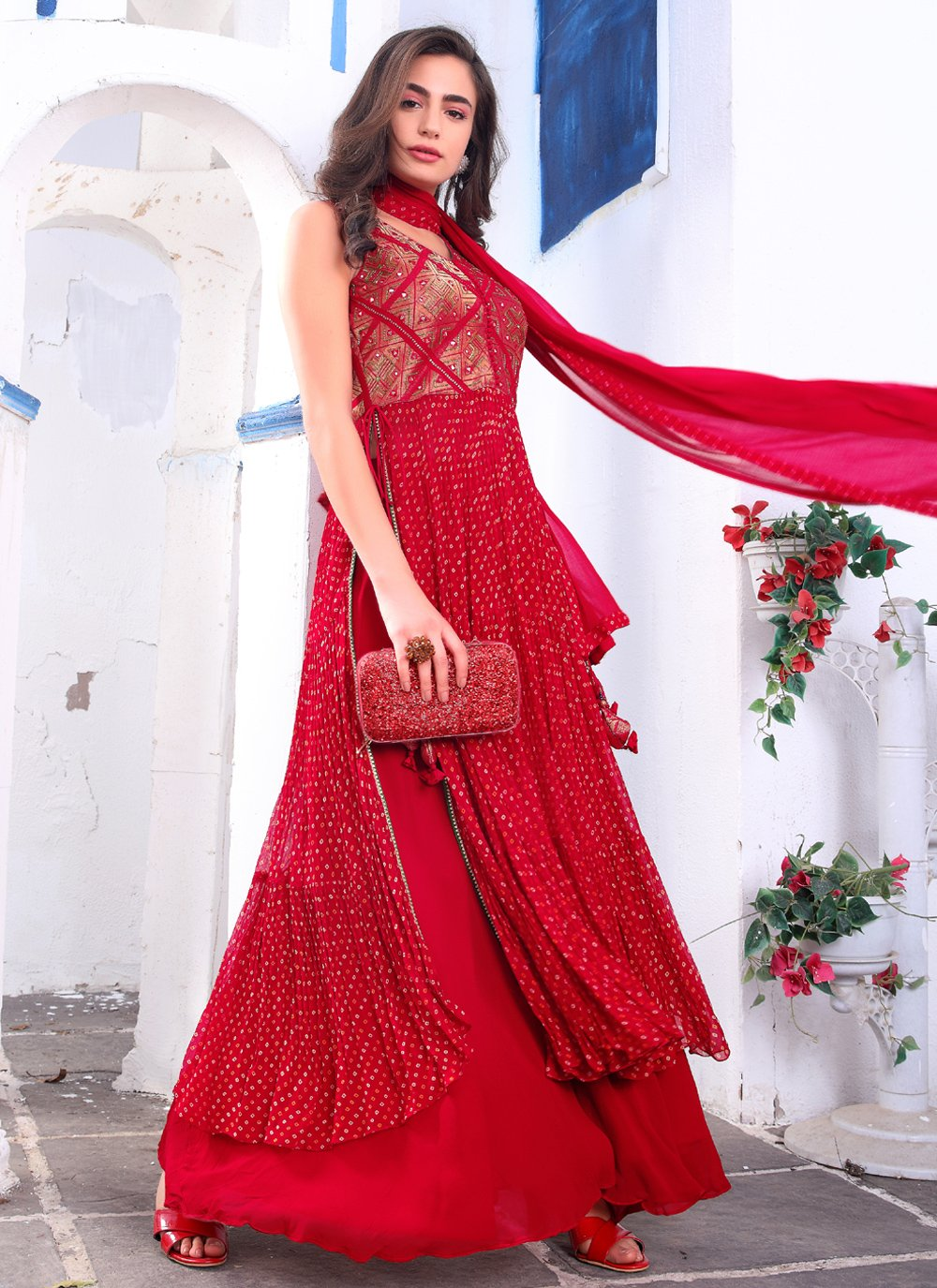 Embroidered Faux Georgette Red Readymade Suit