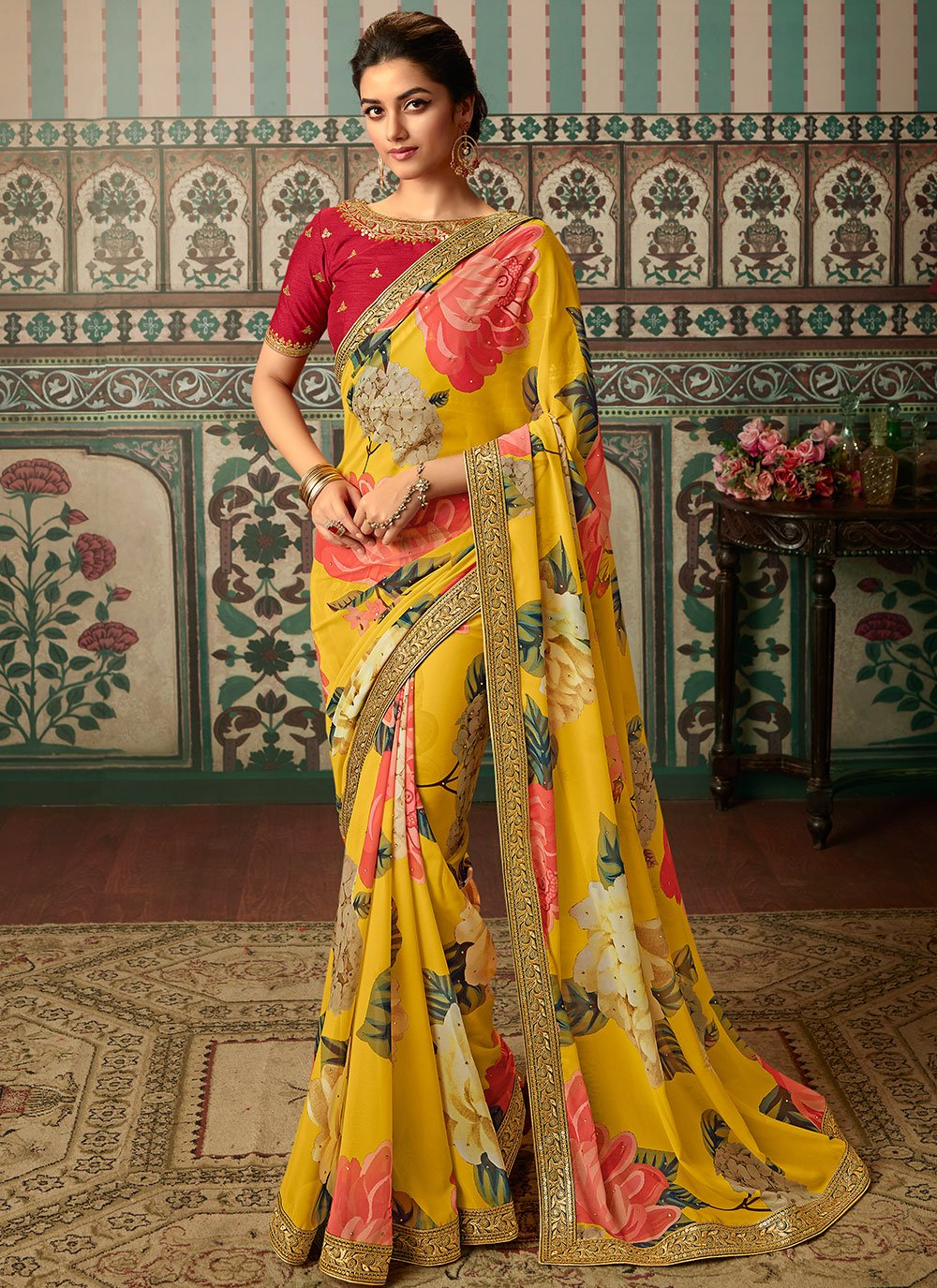 Embroidered Faux Georgette Yellow Classic Saree