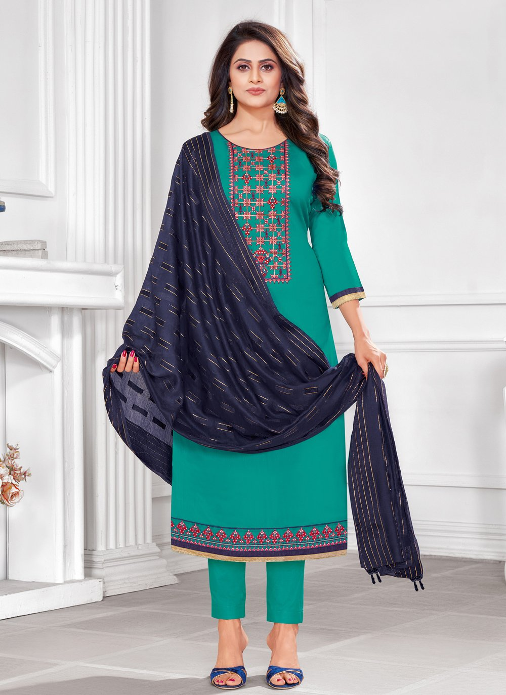 Embroidered Festival Churidar Salwar Suit