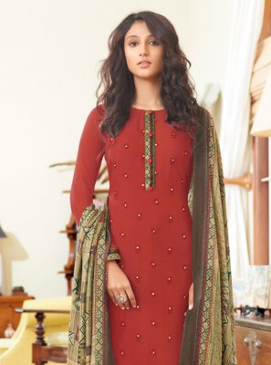 Embroidered Festival Designer Straight Suit
