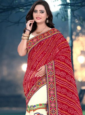 Embroidered Festival Half N Half Designer Saree