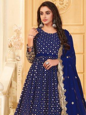 Embroidered Georgette Anarkali Suit in Blue