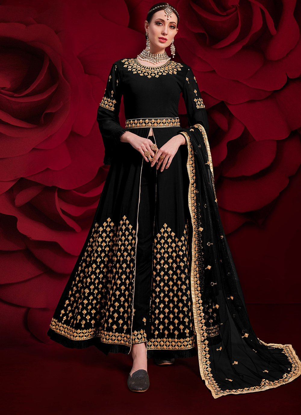 Embroidered Georgette Black Pant Style Suit