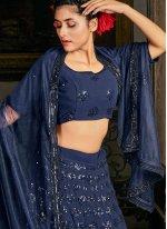 Embroidered Georgette Blue Lehenga Choli