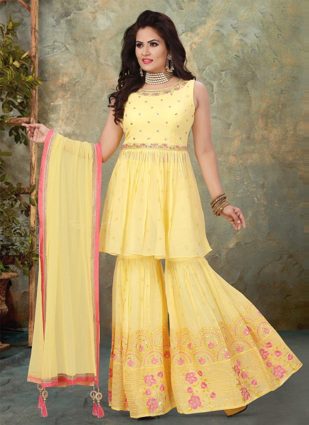 Embroidered Georgette Designer Pakistani Salwar Suit in Yellow