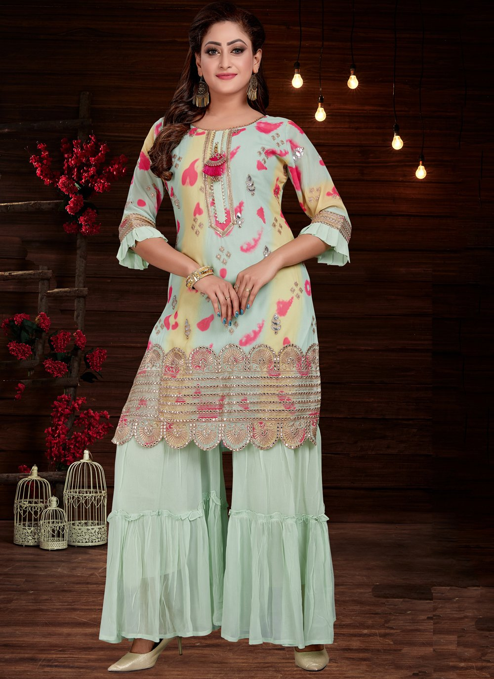 Embroidered Georgette Firozi Party Wear Kurti