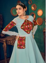 Embroidered Georgette Floor Length Gown